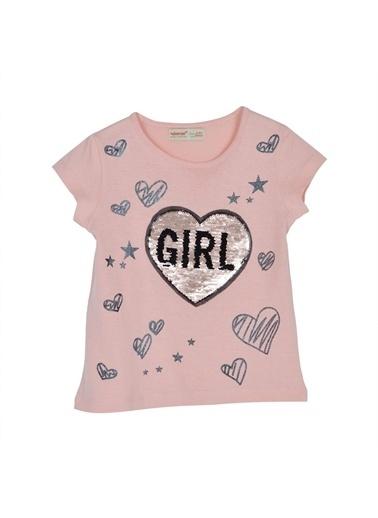 Silversun Kids Kız Çocuk Payet Işlemeli Baskılı Kısa Kollu Tişört Bk 216156 Pembe